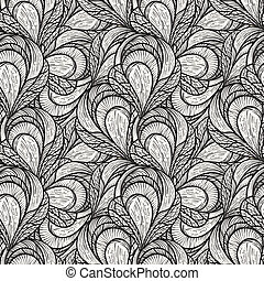 vector seamless abstract floral pattern, monochrome