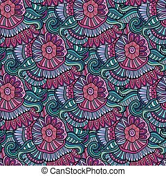 Vector seamless abstract flowers pattern