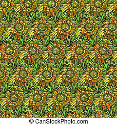 Vector seamless abstract flowers pattern.