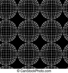 Vector seamless abstract geometric pattern. Repeating Mesh polygonal background. Polygon ball.
