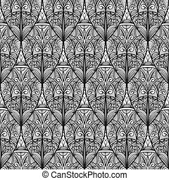 vector seamless abstract highly detailed nonochrome eastern pattern, clipping masks