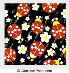 Seamless abstract ladybug grunge texture