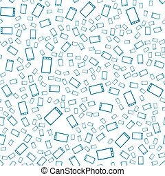 Vector seamless abstract pattern. Blue smartphones on white background
