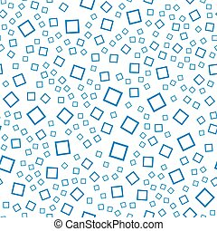 Vector seamless abstract pattern. Blue squares on white background