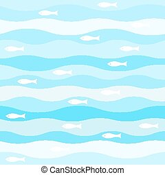 vector seamless abstract pattern, waves fish vintage retro...