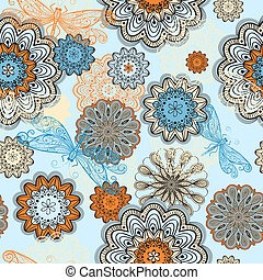 vector seamless abstract  pattern with doodle flowers and flying dragonflies, clipping mask, elements can be used separately