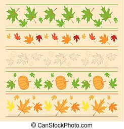 vector seamless autumn ornaments with maple leaves and pumpkins