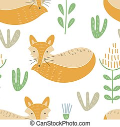 Vector Seamless Baby Pattern with Cute Forest Animals