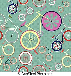 vector seamless background Fixed Gear Bike Pattern - vector...