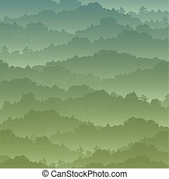 Vector seamless background. Green Mountain landscape in the...