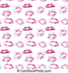Vector seamless background, lips prints