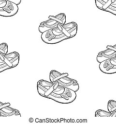 Vector seamless background of outlines shoes for little girls
