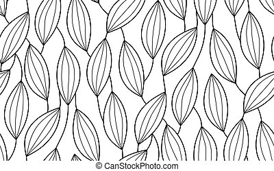 Vector seamless background of plants drawn lines
