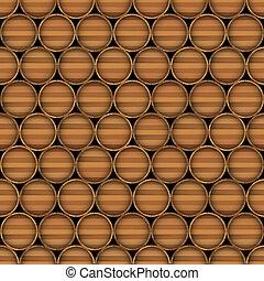Vector seamless background of wooden barrels