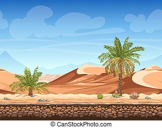 Vector seamless background - palm trees in desert - Vector...