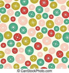 Vector seamless background pattern of bright Christmas circles and stars. A surface pattern design background ideal for Christmas projects.