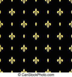 Repeating vector Fleur De Lys pattern. The pattern is included as a seamless swatch. Very easy to edit.