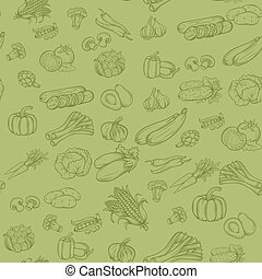 Vector Seamless background pattern with vegetables