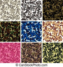 vector seamless background patterns of colorful camouflage...