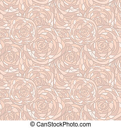 vector seamless background with abstract roses in stained glass style