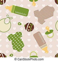 vector seamless background with baby things