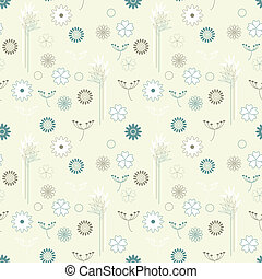 vector seamless background with branches in eastern style