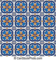 vector seamless background with colored ornate tiles