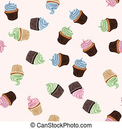 vector seamless background with colorful cupcakes