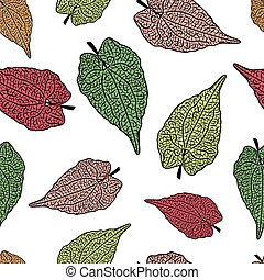 vector seamless background with colorful tree leaves