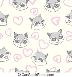 Vector seamless background with cute and beautiful raccoons. Cute background with cartoon character . Repeating texture with animals for children. Illustration on postcard, poster, texture, fabric.
