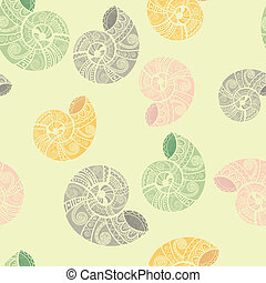 vector seamless background with ethnic snails, clipping mask