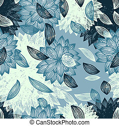 seamless background with flower and blown petals - vector ...