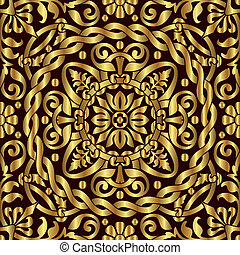 gold asian ornament - vector seamless background with gold ...