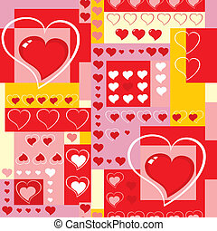 Vector. Seamless background with hearts and cubes.