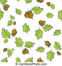 seamless background with oak leaves - vector seamless...