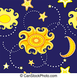 Vector seamless background with sun and stars