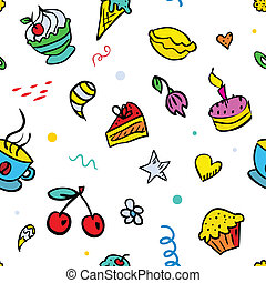 Vector seamless background with sweets