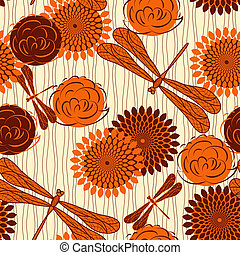 vector seamless background with vintage  flowers and dragonflies. clipping mask