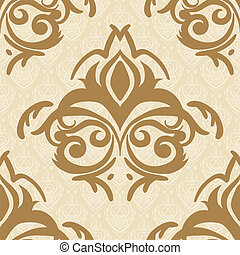 Vector seamless baroque damask luxury golden background