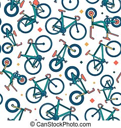 Vector seamless bicycle color pattern with borders