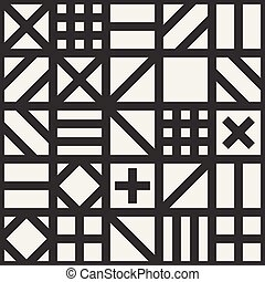 Vector Seamless Black & White Geometric Square Irregular...