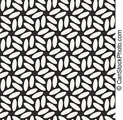 Vector Seamless Black & White Rounded Ellipses Hexagonal Floral Pattern