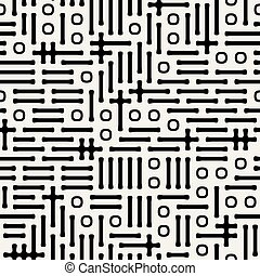 Vector Seamless Black And White Abstract Symbols Pattern