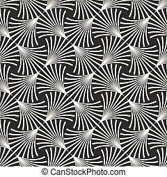 Vector Seamless Black and White Arc Lines Grid Pattern....