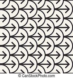 Vector Seamless Black And White Arrows  Arcs Geometric Pattern