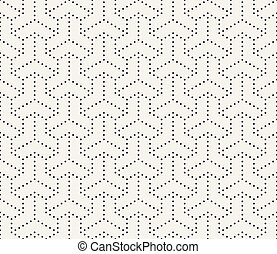 Vector Seamless Black and White Dotted Lines Grid Pattern