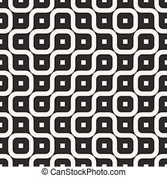 Vector Seamless Black And White Irregular Rounded Lines Pattern