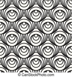 Vector Seamless Black And White Concentric Circles Optical Illusion Pattern