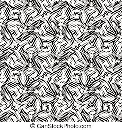Vector Seamless Black And White Stippling Arcs Rounded Circles Tiling Dotwork Pattern
