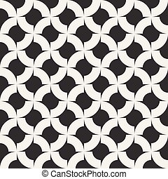 Vector Seamless Black And White  Geometric Rounded Arcs Pattern